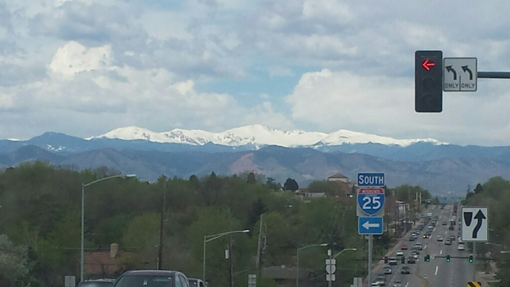 Picture - Mount Evans as seen from Hampden Avenue and I25 in Denver, CO